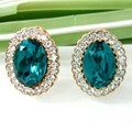 Navachi Noble Clip  Yellow GP  Crystal Oval Blue Zircon Clip-stand Earrings SMT1689
