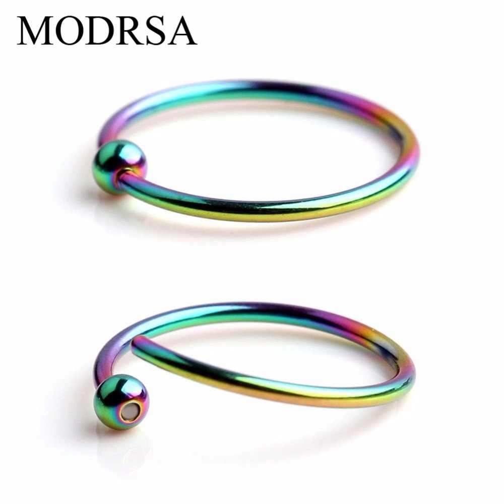 MODRSA 2 adet/grup 16G kapalı boncuklu halka Topu Kapatma Vücut Hoop Septo Burun Dudak Kadın Kaş Kulak Septum Kıkırdak Helix Takı