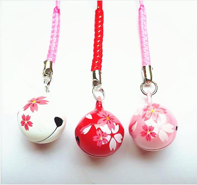 Omamori Japanese Pink Red Cherry Blossom Bell Pendant Bag Phone Pendant Pompom Llaveros Para Mujer  Luxury Keychain