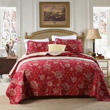 European Vintage 100% Cotton Quilt Set 3PCS Quilts Bedspread Quilted Bed Cover Pillow Shams Red Printed Coverlet King Size