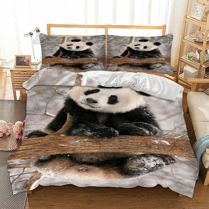 Wongs Bedding Cute 3d Panda Duvet Cover Bedding Set Quilt Cover Bed Set 3pcs Twin Queen King Size Home Textile
