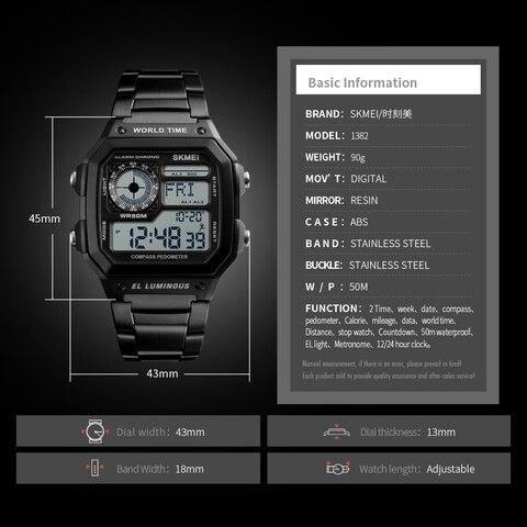 SKMEI Clock Mens Watches Top Brand Luxury Compass Countdown Digital Watches Sports Pedometer Calories Waterproof Men Wristwatch Lahore