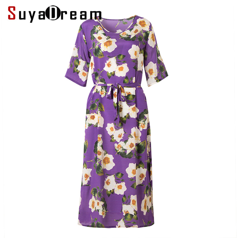 Women Print Dress 100 SILK CREPE Casual Belted Dresses for Women Floral Printed Short Sleeved A