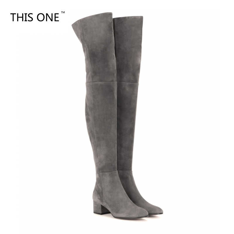 THISONE New Arrive Superstar Over Knee Boots Women Fashion Winter Boots Woman Shoes Autumn Zip Thick Heel Thigh High Boot Female