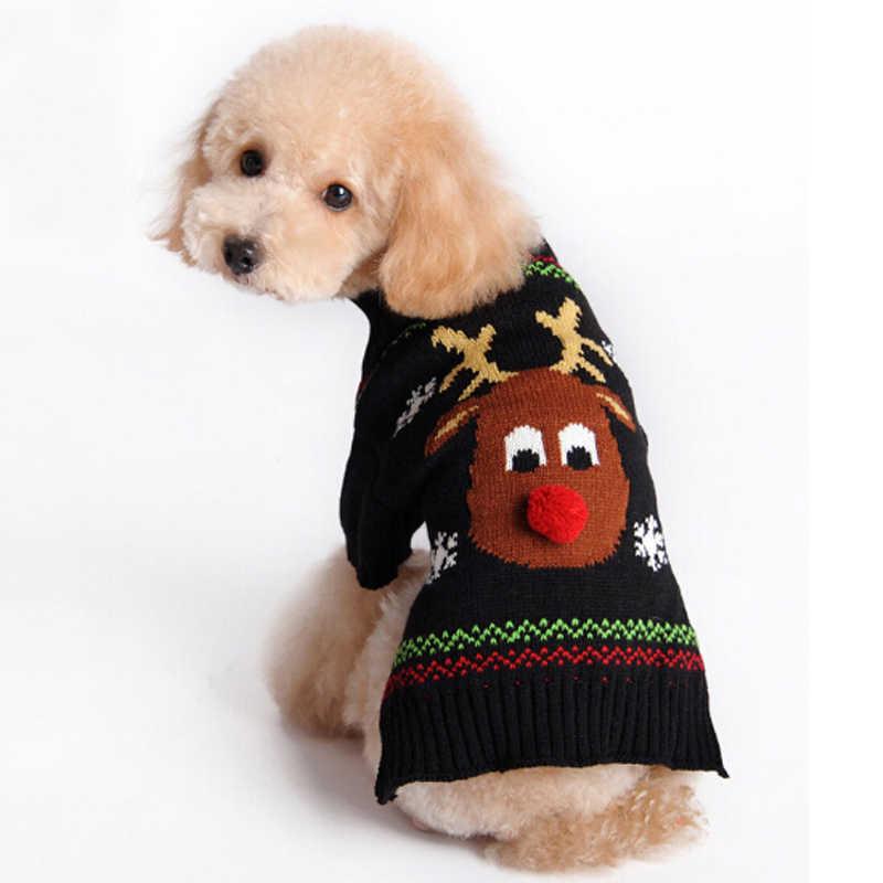 Новые рождественские собака свитер с рисунком «олени» для домашних животных собак трикотажный пуловер Зимняя одежда небольшой для йоркширских терьеров и чихуа-Хуа кошка со снежинками, одежда для собак