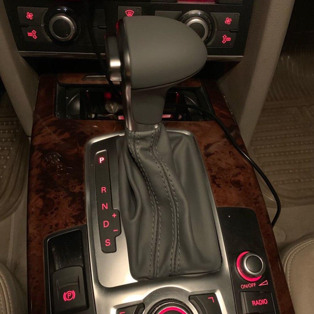 Voiture haute qualité levier de vitesse levier manette de vitesse boule à main avec en cuir couverture anti-poussière style de voiture adapté pour Audi A4 A5 A6 Q5 Q7 B8