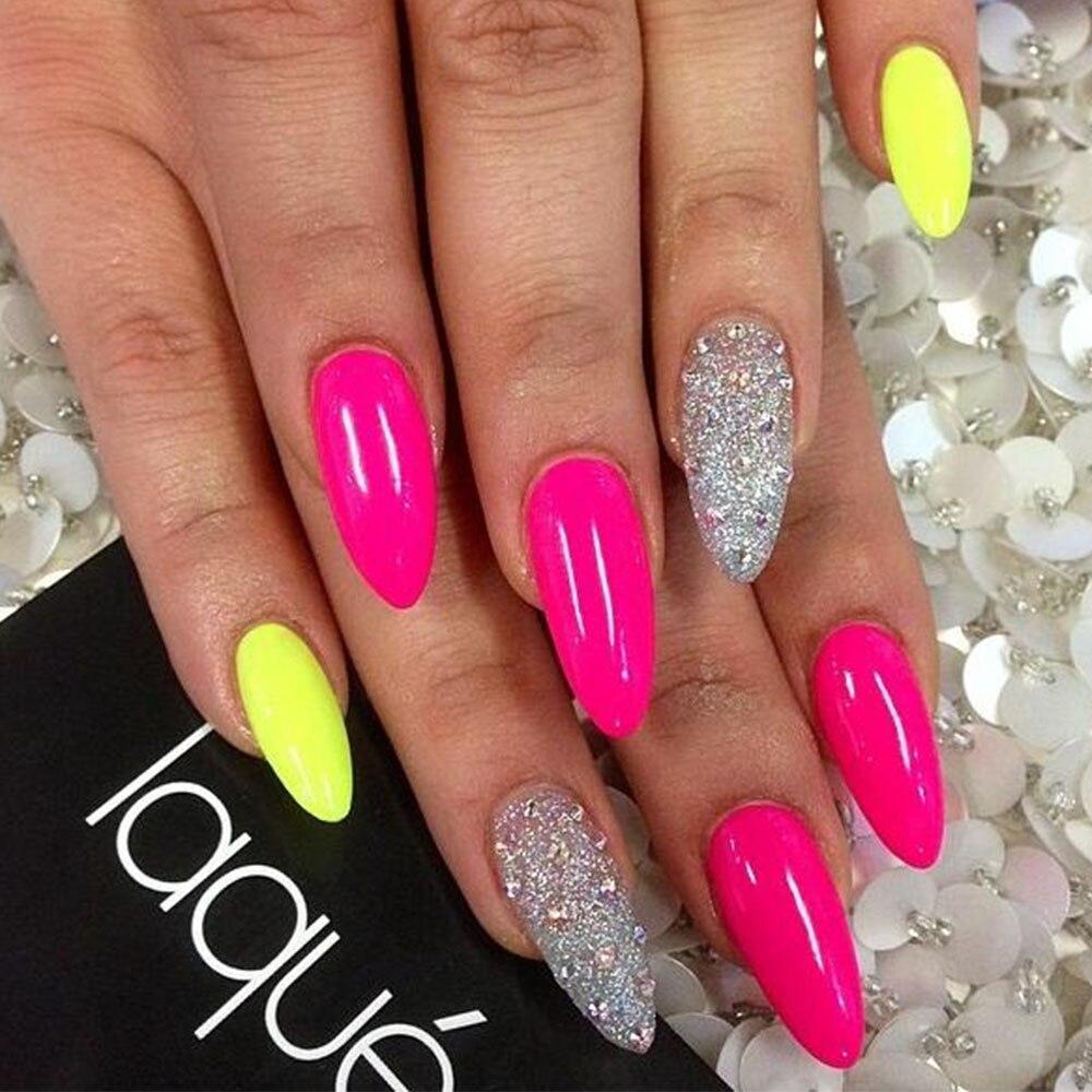 1 pc Fluorescente Effetto Glitter per unghie Pigmento Neon Smalto di Chiodo  Della Polvere Della Polvere del Gel UV Del Chiodo Capovolge La Decorazione