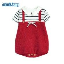 Baby Girl Bodysuits Summer Short Sleeve Newborn Onesie Super Soft Knit Toddler Kid Sweater Dress Fashion Stripe Children Clothes цена в Москве и Питере