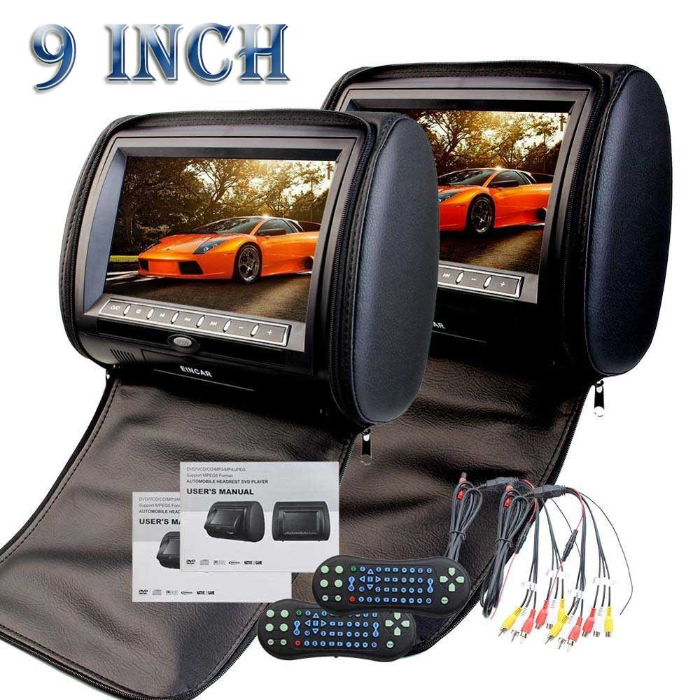 Pair of 9 Inch HD 1080P Digital TFT LCD Screen Auto Monitor Car cd pillow Headrest DVD Player with Game Dis support IR Headphone eincar 9 inch hd digital lcd screen car pillow monitor headrest dvd cd player support fm transmitter usb sd monitor ir headphone