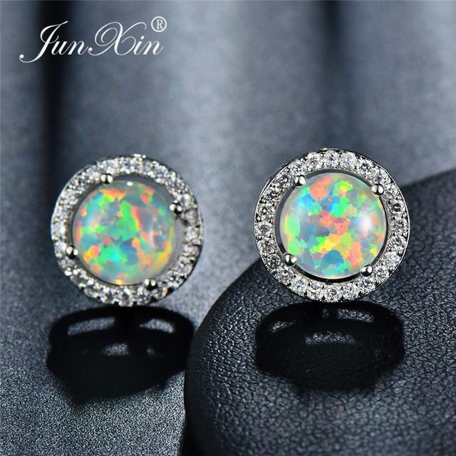 728d65400469c US $2.49 90% OFF JUNXIN Luxury Female Rainbow Fire Opal Stud Earrings For  Women 925 Sterling Silver Filled Round Blue Opals Zircon Earring Studs -in  ...