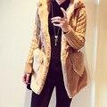 Осень Зима 2016 Женщин Пальто с Длинным Рукавом С Капюшоном Теплый Искусственного Меха Верхняя Одежда Дамы Трикотажные Эластичный Пояс Длинные Пальто Горячая Продажа