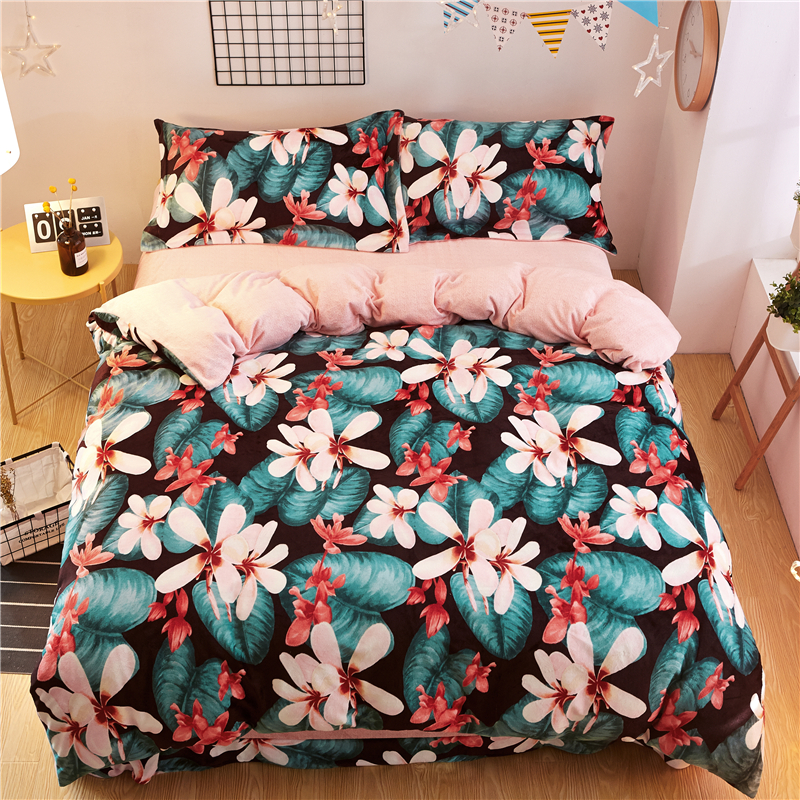 Winter velvet flannel warm Pastoral 21 styles bedding set fleece 4pcs Duvet cover set Bed sheet Queen King size bed linen