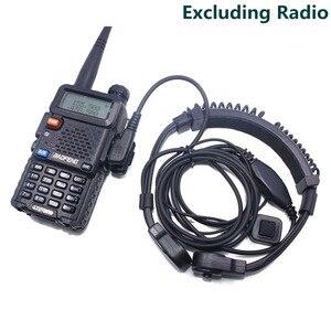 Image 5 - 2pcs ABBREE Extendable Throat MIC PTT headphone Headset for Kenwood BAOFENG BF 888s UV 5R UV 82 UV 5RE 2 way radio Walkie Talkie