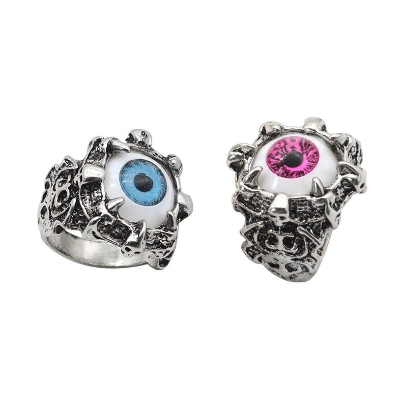 Punk Face Ring Men Jewelry Gothic Monster Devil Satan Ghost Evil Eyes Rings Variation Eagle Eye Cool Skull Finger Rings Jewellry