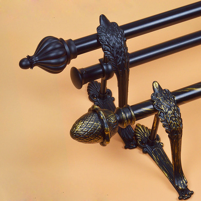 Curtain Rod Bracket Black Gold Pure Black Rods 28mm28mm Double