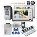 "FREE SHIPPING 7"" TFT LCD Color Recording Video Door phone Intercom 2 Screens Waterproof Doorbell Camera + 8G SD + 180kg EM lock"