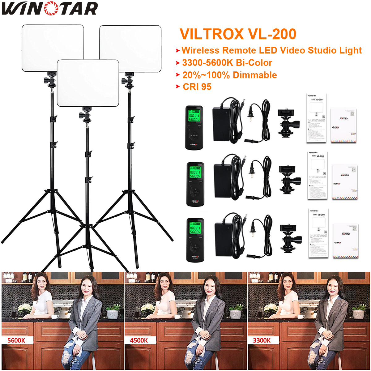 3 pcs VILTROX VL-200 3300 K-5600 K CRI 95 Ultra Mince Dimmable Bi-couleur LED vidéo Lumière Kit + 3x Lumière Stand + 3x AC adaptateur