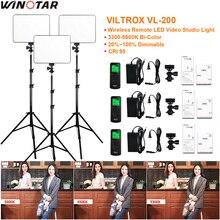 3 шт. VILTROX VL-200 3300 К-5600 К CRI 95 ультра тонкий затемнения двухцветный светодиодный видео комплект + 3x свет подставка + 3x адаптер переменного тока