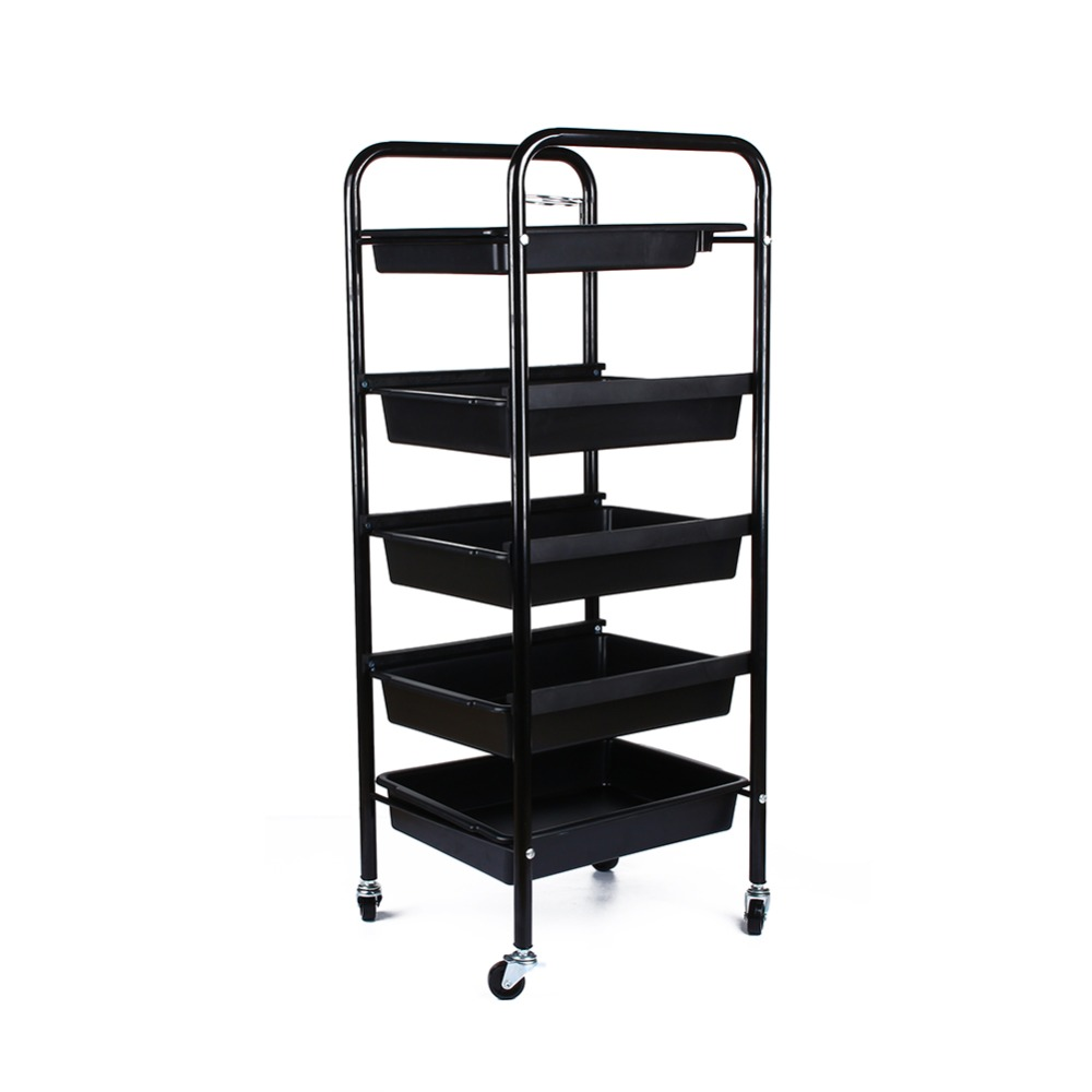 5 Tier Spa Hairdresser Coloring Hair Black Salon Trolley Rolling Storage Cart Tool Accessory
