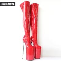 Jialuowei Новое поступление 30 см на очень высоком металлическом каблуке пикантные на платформе из искусственной кожи молния выше колена сапоги
