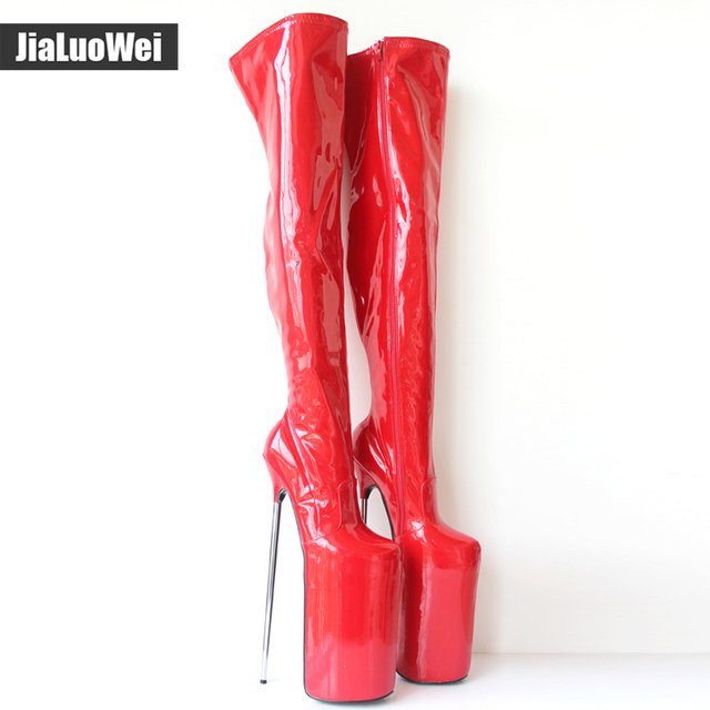 3d160ca9f50d jialuowei New Arrive 30CM Super High Metal Heels Sexy Fetish Platform Pu  Leather Zip Over-the-Knee Thigh High Boots Plus Size