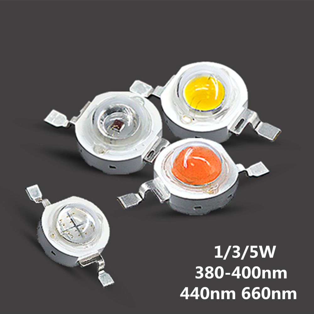 High Power 1W 3W 5W Grow Light LED Bulb Light Chips Full Spectrum 380-840nm Royal Blue 440nm Deep Red 660nm SMD COB Diode