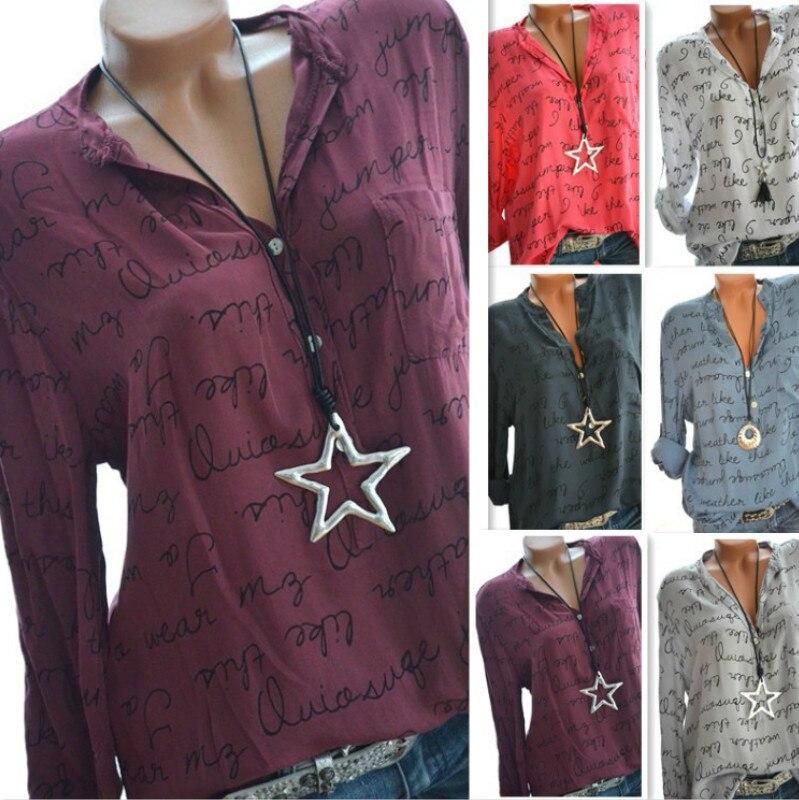 fdf3aec0187dd4f Купить Летняя женская футболка с v образным вырезом с длинным рукавом с  буквенным принтом Повседневная рубашка женская Продажа Дешево