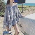 2016 new hot sexy tops lace design elegante camisa cinza t cortar o pescoço de renda das mulheres encabeça verão nova chegada solto moda camisa top