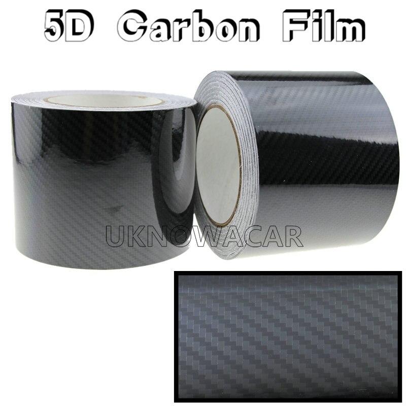 152CMX10CM New Glossy Black 5D Carbon Fiber Vinyl Wrap Film DIY Car Decorative Stickers For Motorcycle Motor car truck etc