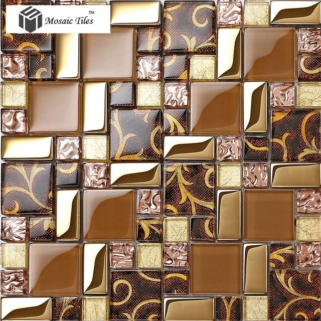 Rose Gold Golden Foil Brown Mosaic Tiles Irregular Pattern