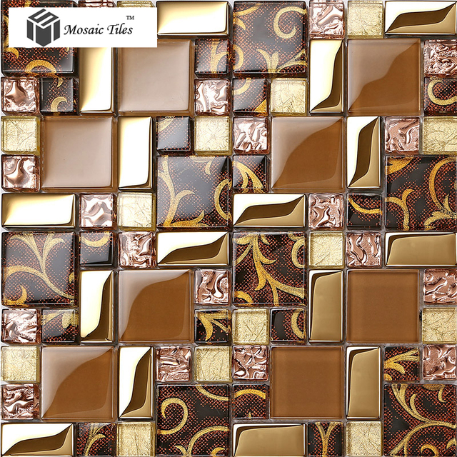 Rose Gold Goldfolie Braun Mosaik Fliesen Unregelmäßigen Muster - Mosaik fliesen braun gold