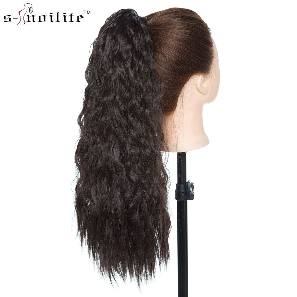 SNOILITE 18inch Long Corn Water Wave Clip In Ponytail Hair Extension Drawstring Hair Ponytail Hairpiece For Women