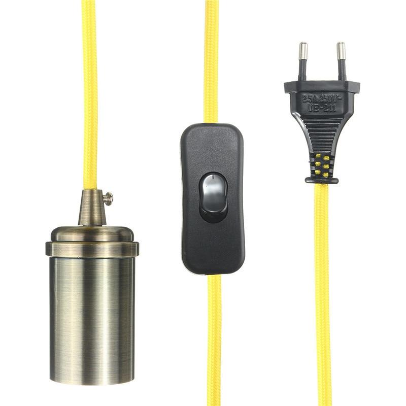 4.5m E27 Vintage Edison Mini Pendant Light Antique Brass Finish Woven Fabric Cord In-Line On/Off Rocker Switch Home Decor