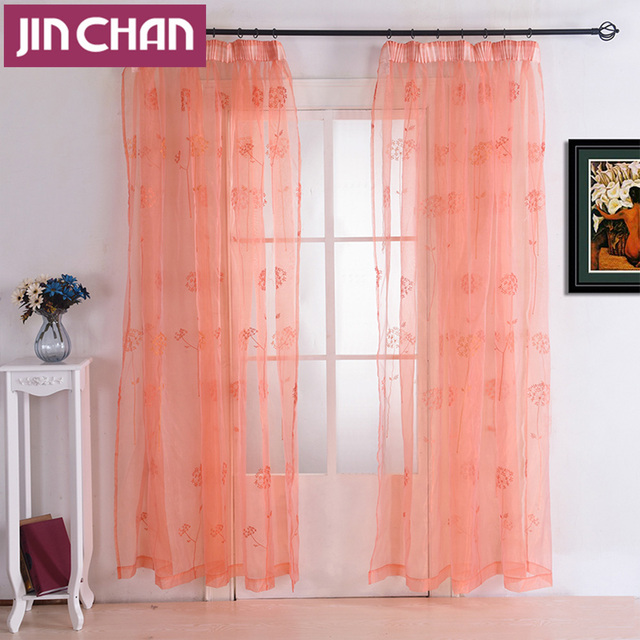 Dandelion Embroidered Modern Window Tulle Curtains For Living Room ...