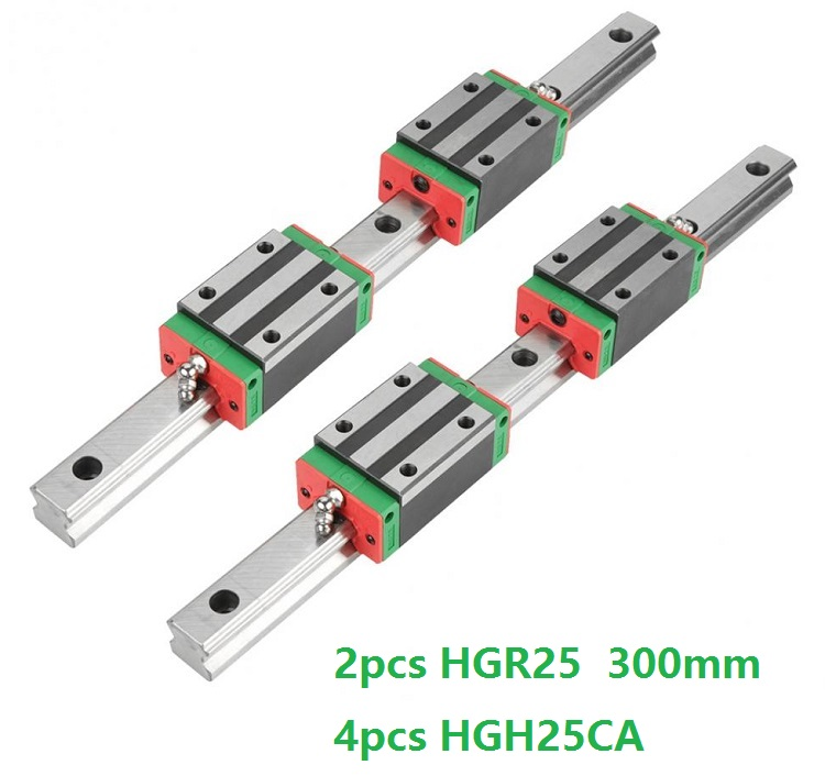 China Made 2pcs Linear Guide Rail HGR25 -L 300MM + 4pcs HGH25CA Or HGW25CC Linear Sliding Block Carriage CNC Router Parts