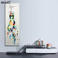 Fashion Girl Hand Painted Oil Painting On Canvas Palette Knife Figure Picture For Modern Living Room