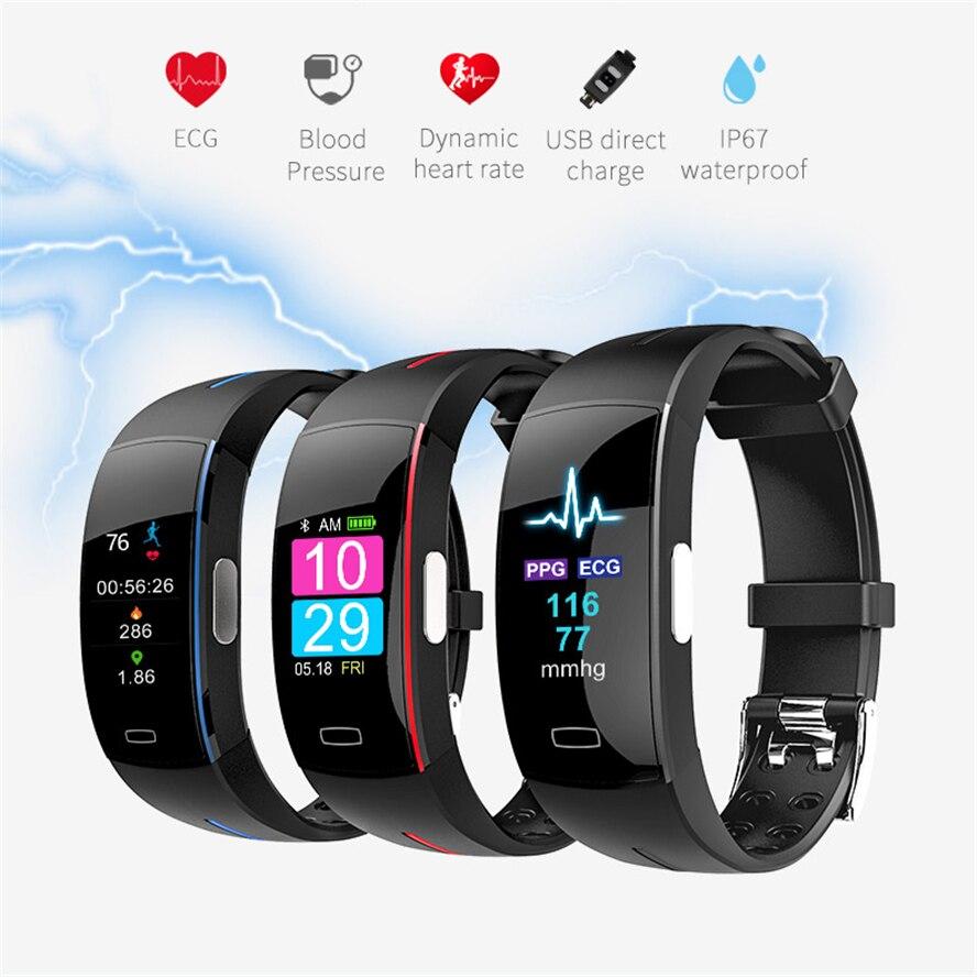 H66 Pl tension artérielle bande intelligente moniteur de fréquence cardiaque PPG ECG Bracelet Intelligent P3 plus Activit fitness Tracker Bracelet Intelligent - 2