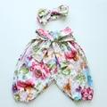 2016 Nueva Llegada Muchachas de Los Bebés floral Harem pantalones de los niños, Pantalones casuales Niños pantalones harén Ropa diadema emparejado