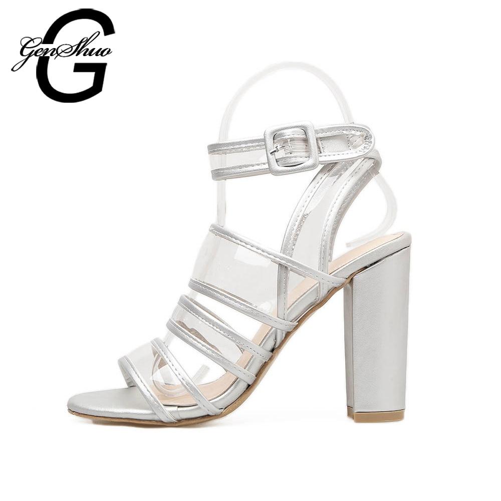 Transparent Chaussures Chunky Femmes Bout Silver apricot Gladiateur Cheville À Lanières Sandales Argent Ouvert Clair Genshuo Pvc Talon EC0qC