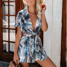 2019 New Sexy Deep V Neck Knot Front Coconut tree leaves Print Rompers Womens Jumpsuit Summer short Sleeve Casual Boho Playsuit