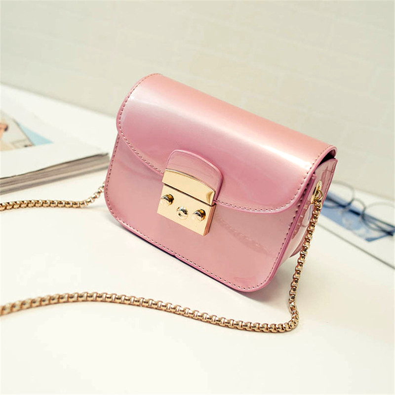 2017Summer Fashion Furly Candy Mini Chain Bag High Quality PU Jelly Beach Bags Rivet Valentine Crossbody