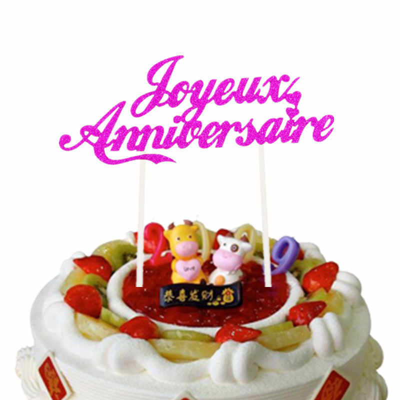 Astounding Customised French Cake Flags Happy Anniversary Cake Topper Wedding Funny Birthday Cards Online Overcheapnameinfo