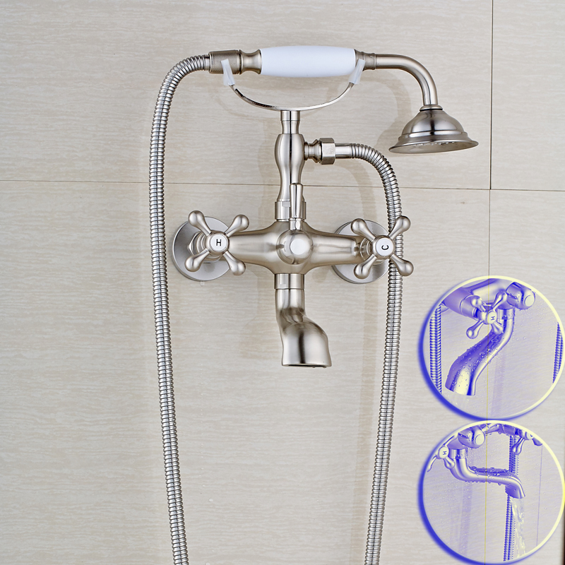 Telephone Style Ceramic Handshower Bathroom Tub Faucet Set Wall Mounted Rotate Tub Filler Bathtub Mixer Taps high grade wall mounted telephone style bathtub faucet golden ceramic style bathroom tub mixer taps with hand shower