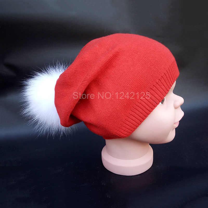 New outono inverno pai-filho menina mulheres crianças chapéus de lã quente bonito grande raposa Bola de pêlo pompom chapéu de Natal dom chapéus de tricô caps