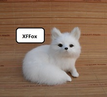 cute real life white fox model plastic&furs simulation curling up doll gift about 16x11x13cm xf1743