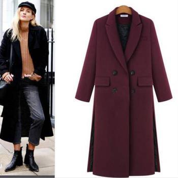c0230dd6 Talla grande 4XL Casual mujer abrigo de lana 2019 Otoño Invierno único  pecho de cintura ancha ...