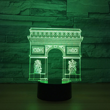 Novelty 7 Color Changing 3D Led Illusion Arc De Triomphe Modeling Table Lamp Usb Touch Light Fixtures Bedside Decor Night Lights