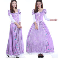 Free Shipping Adult Tangled Fancy Dress Anime Cosplay Costume Princess Fairy Tale Rapunzel Costume Adult W1742