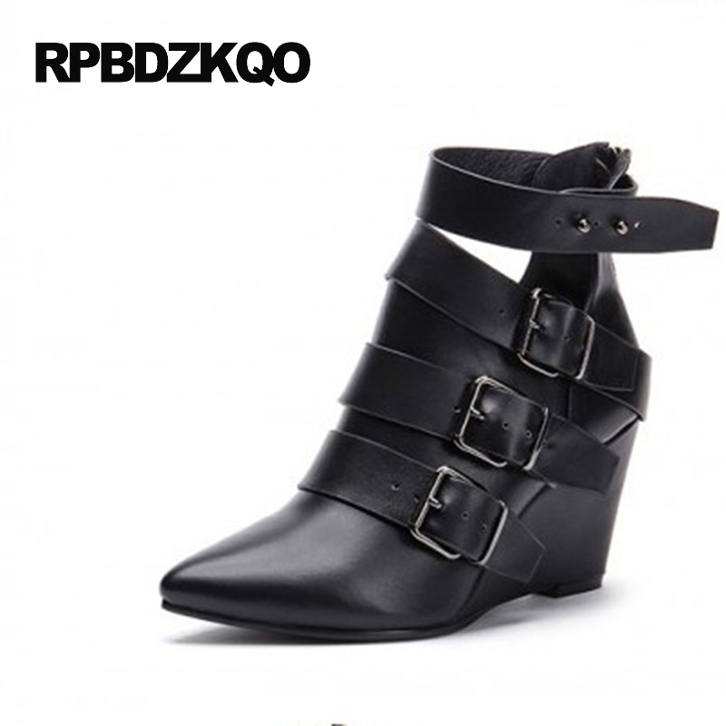 Casual Genuine Leather Ankle 2017 Short Pointed Toe British Combat Fashion Booties Designer Shoes Women Luxury Ladies Boots 2017 genuine leather women ranger boots famous designer motorcycle fashion work brand shoes zip front design ankle short booties