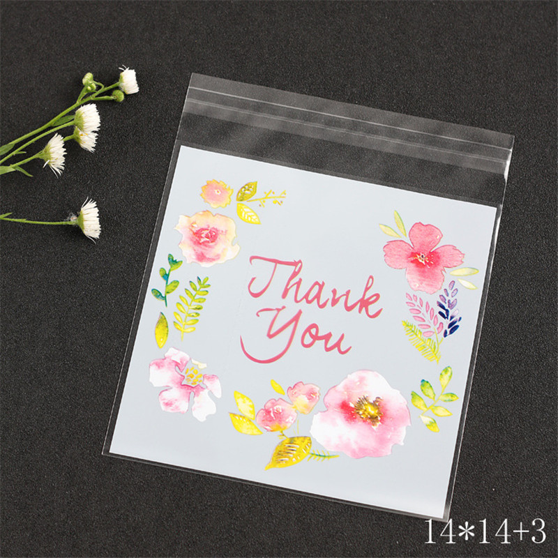 25pcs Big 14x14+3cm Jewelry Opp Bags Box Thank You Flower Print Pouches For Biscuit Bake Gift Candy Bags Packaging Packing